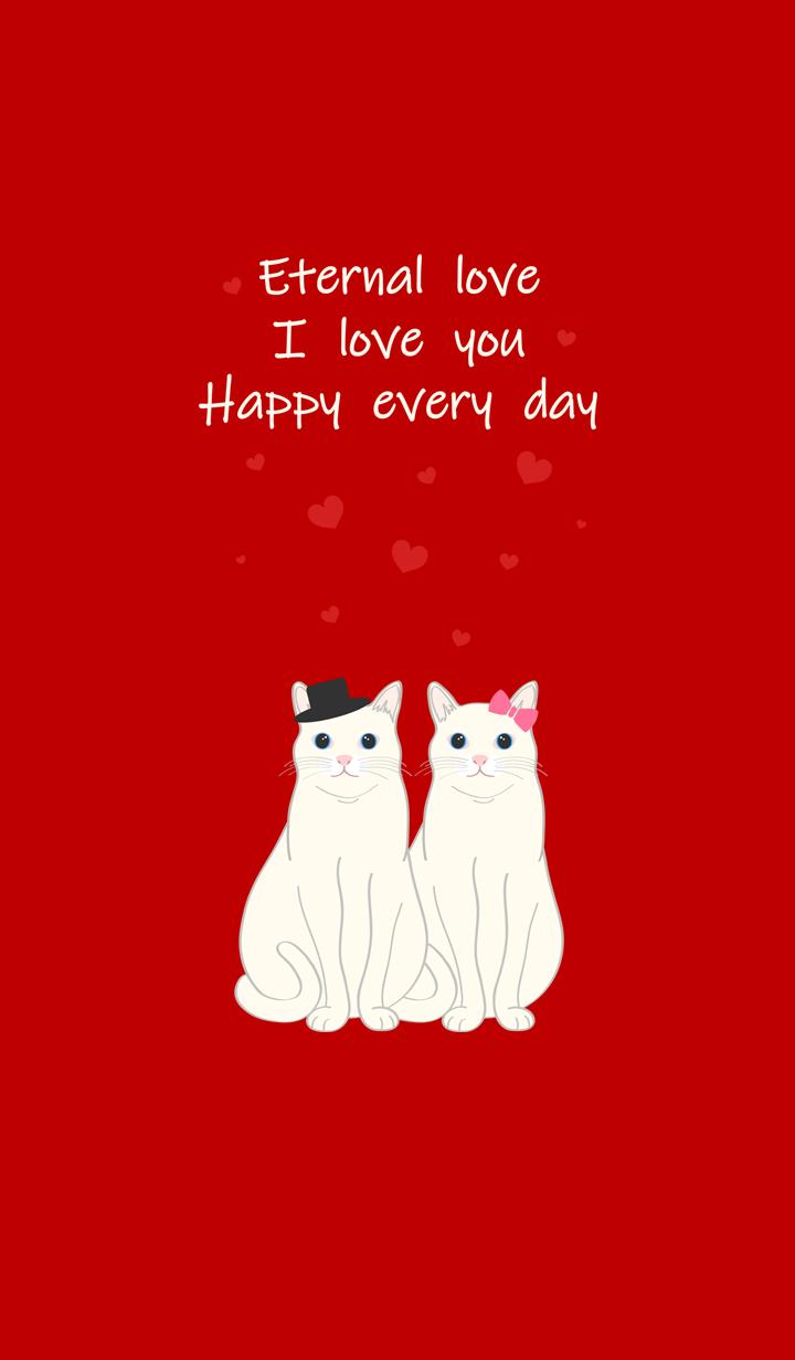 발렌타인 데이(흰 고양이)