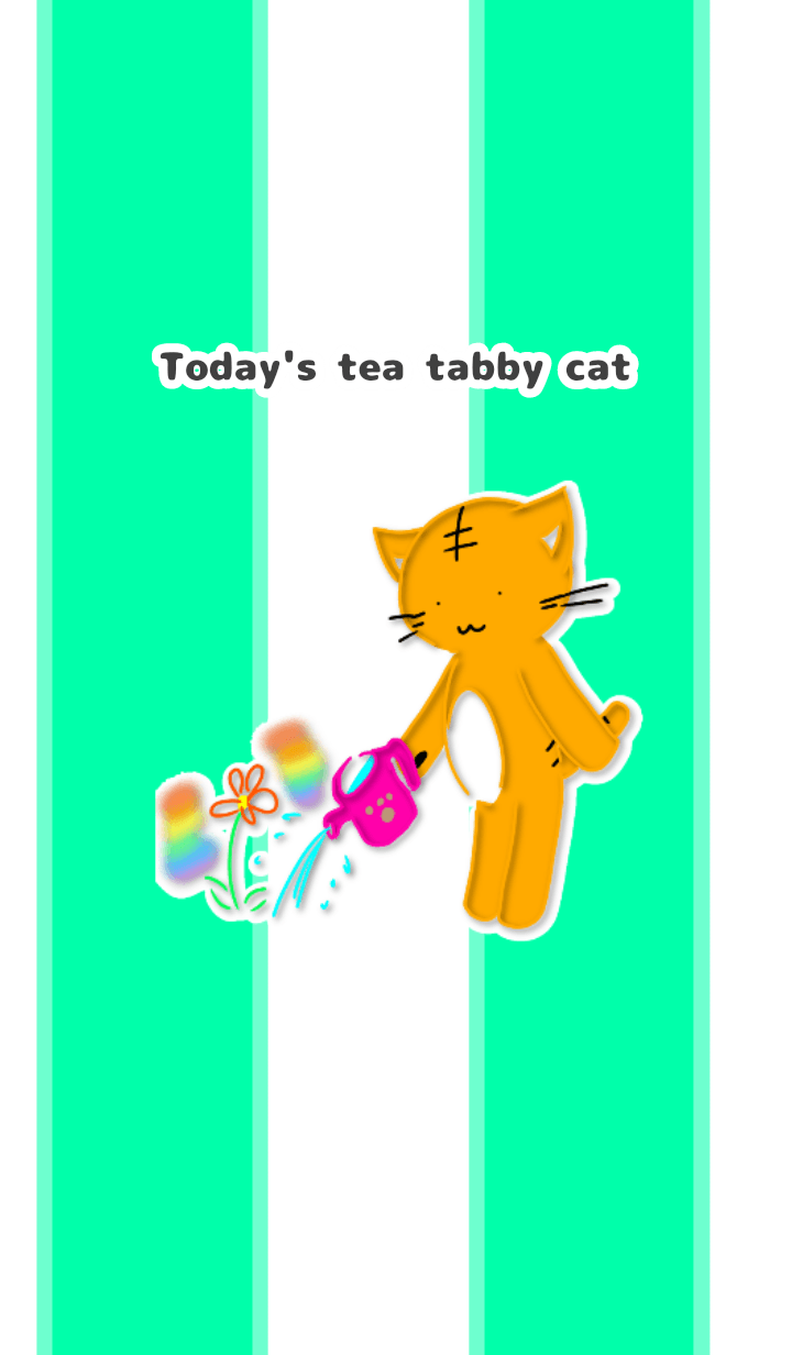 Watering tea tabby cat with flowers
