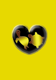 Two turtles of money luck Yellow heart