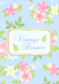 Vintage flower-Blue2-