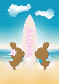 suntan rabbits and surfboard ALOHA 6.