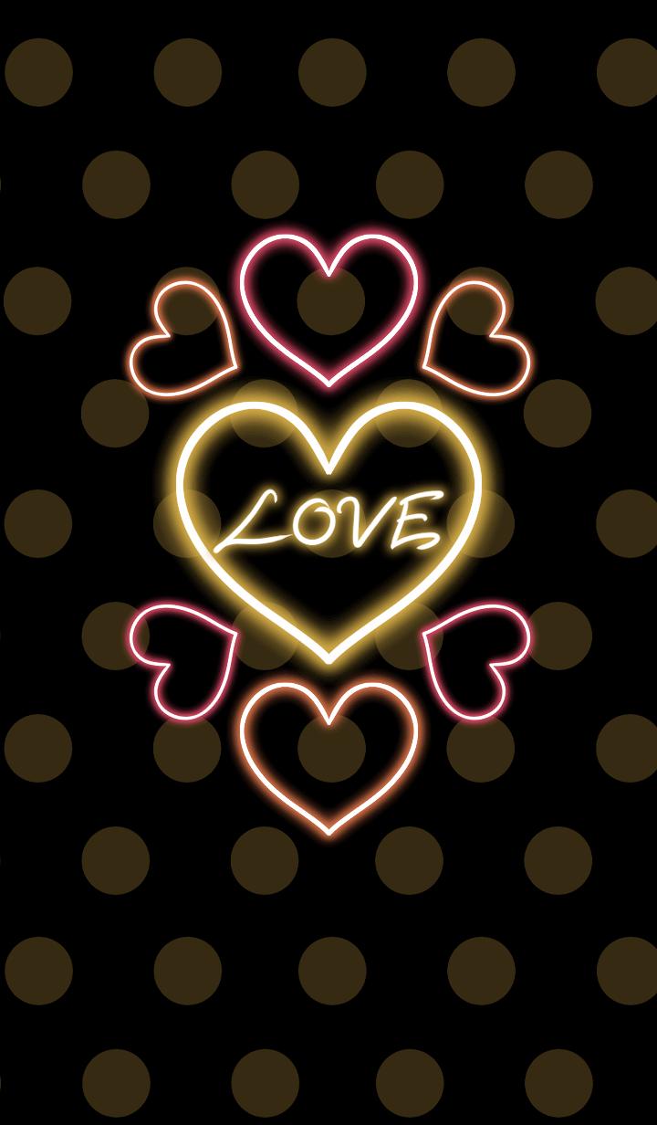 Neon heart -Yellow polka dot-
