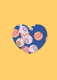 Japanese Pattern Ball Heart Orange
