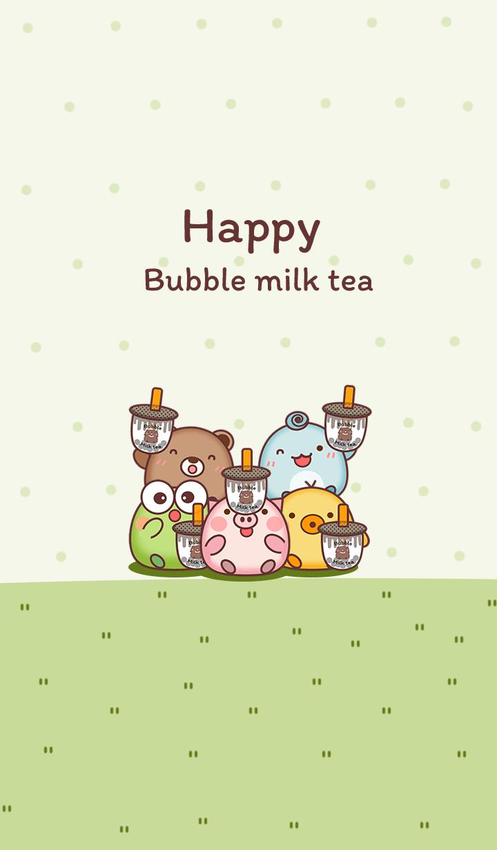 Animals & Bubble milk tea green