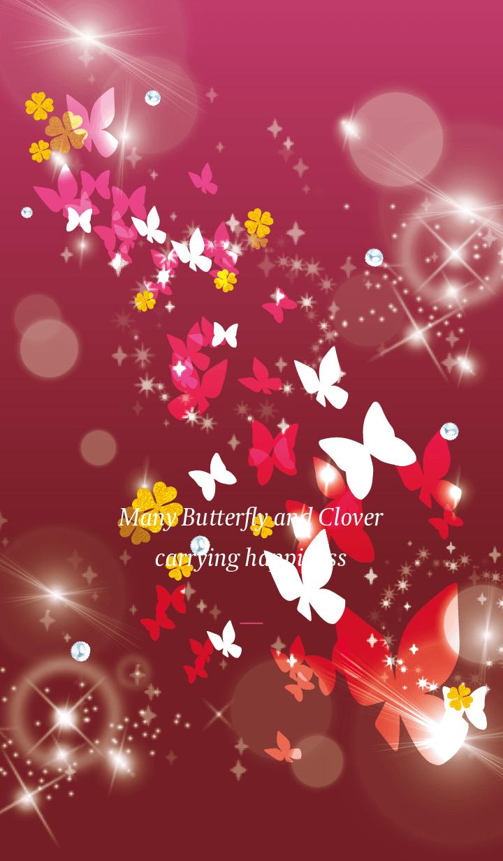 Pink : Lucky butterfly & clover