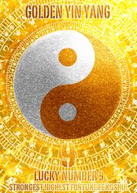 Golden Yin Yang Lucky number 9