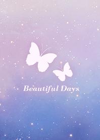 蝴蝶-浪漫夜空 粉紅色 紫色