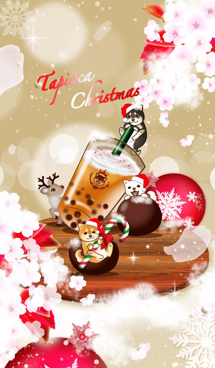 柴犬とクリスマスタピオカミルクティー