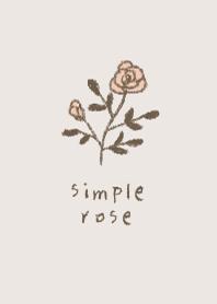 Hand painted simple rose -BEIGE-