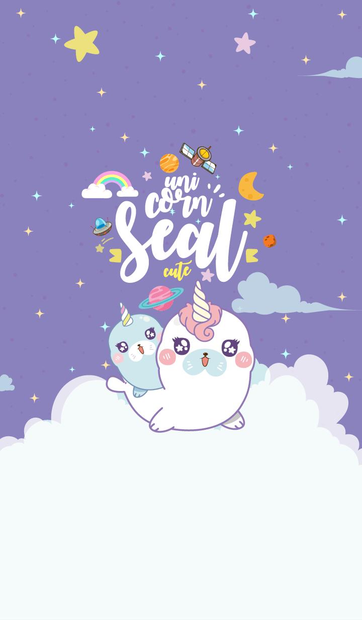 Seal Unicorn Galaxy Cute Purple