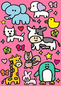 ธีมไลน์ animals theme x pink