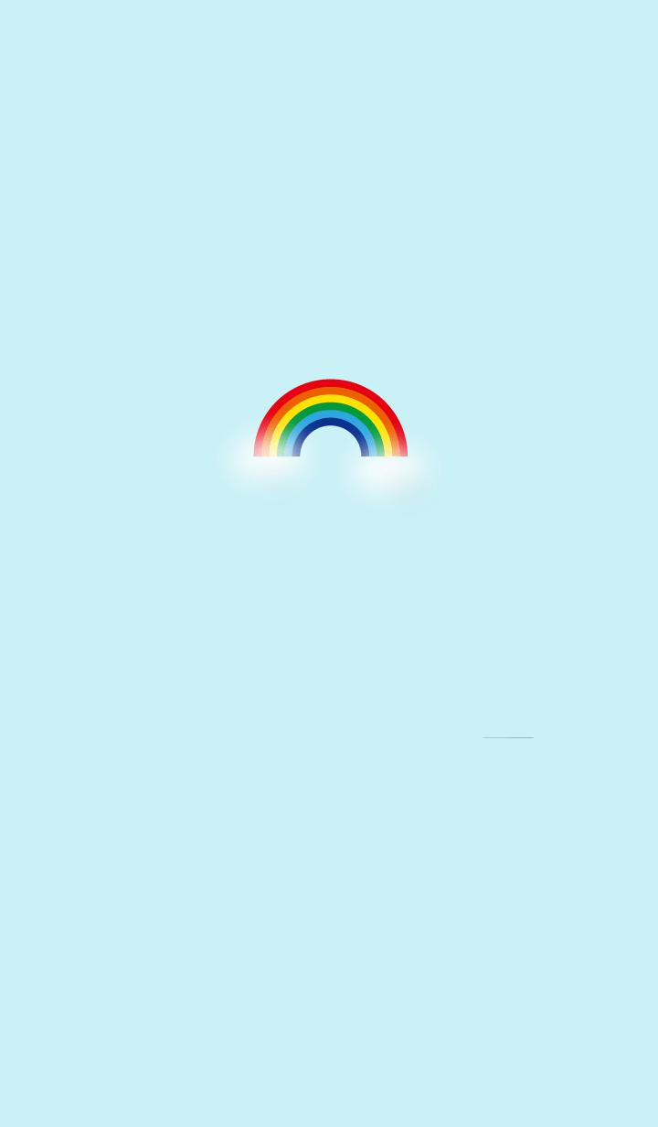 Blue sky and rainbow simple one point