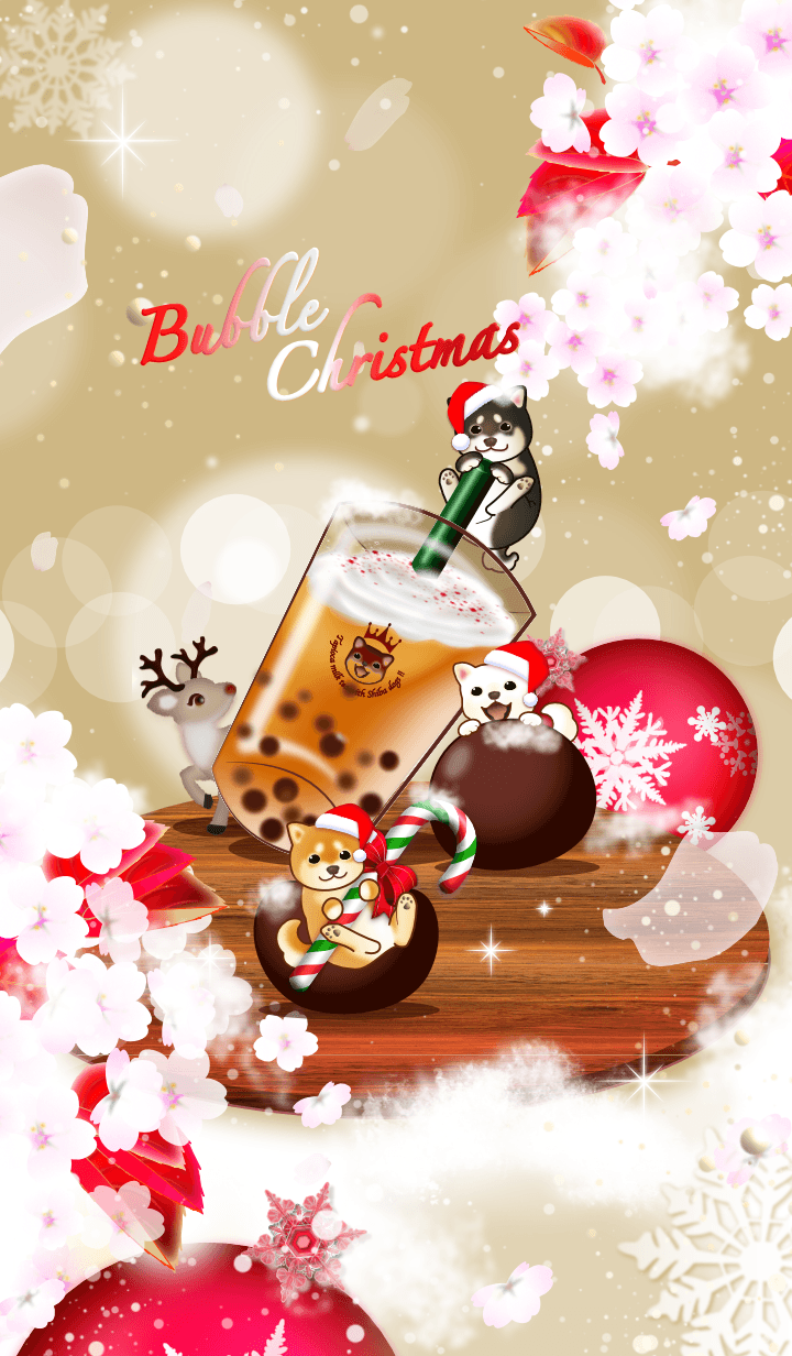 Christmas Bubble tea with Shiba dogs