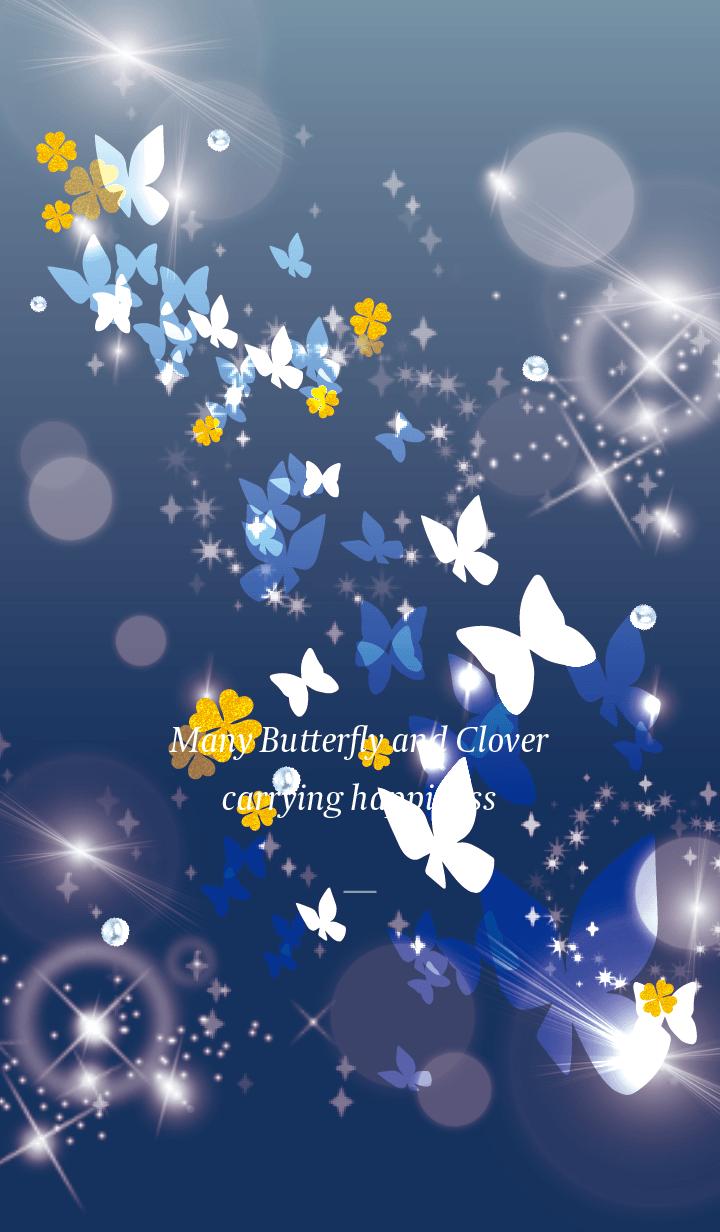 Beige Blue : Lucky butterfly & clover