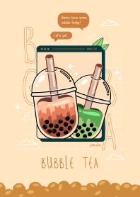 aesthetic boba milk tea line theme line store aesthetic boba milk tea