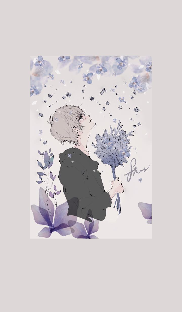 花と少年・水色花