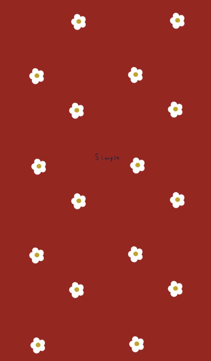 大人レッドと小花柄