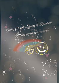 Lucky rainbow and smile / black & pink