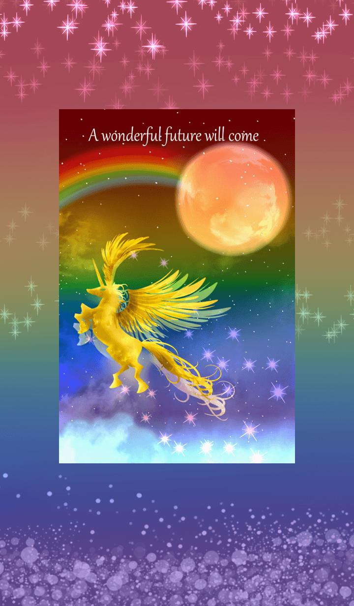 Unicorn flying in the rainbow sky.