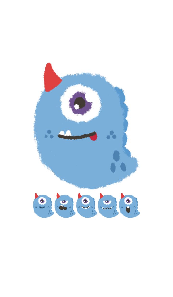 Kawaii blue monster