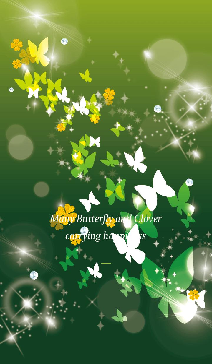Yellow Green : Lucky butterfly & clover