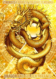 Dragon and golden pyramid