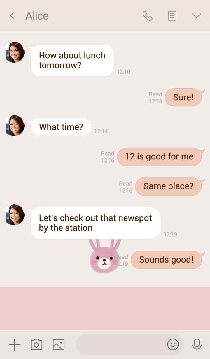 ほんわかウサギ・ピンク