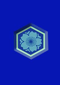 Japanese cherry blossom blue button