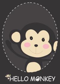 簡單的黑色你好猴子