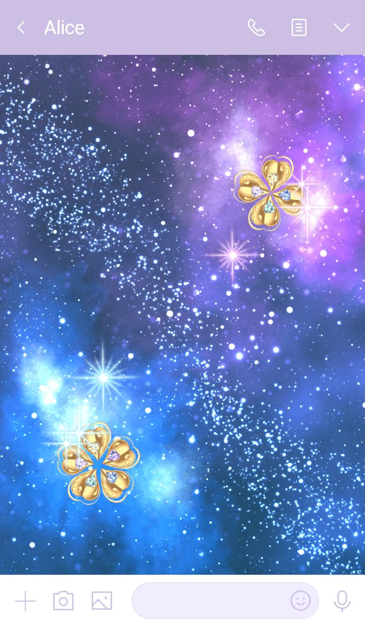 Wish come true,Gold Clover in Milky Way