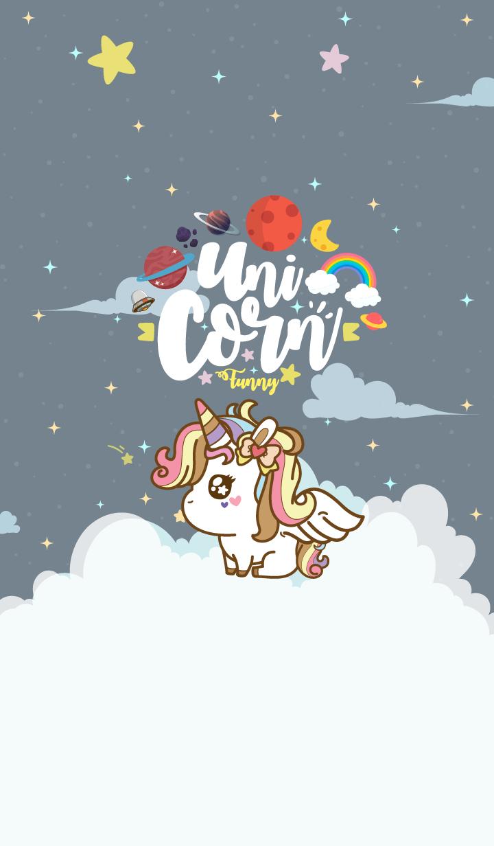 Unicorn Funny Galaxy Gray