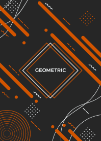 Geometric Diagonal Flat Black Orange