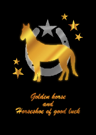 Golden horse and horseshoe of good luck