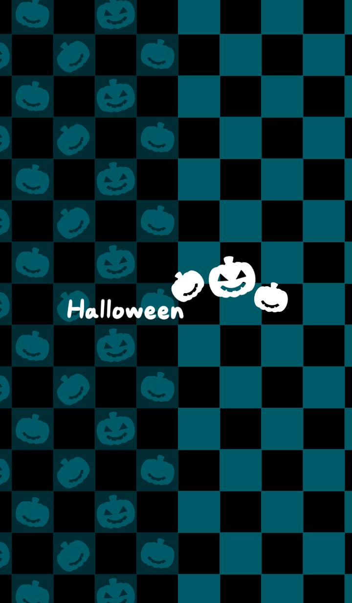 Blue green checkered -Halloween2019-