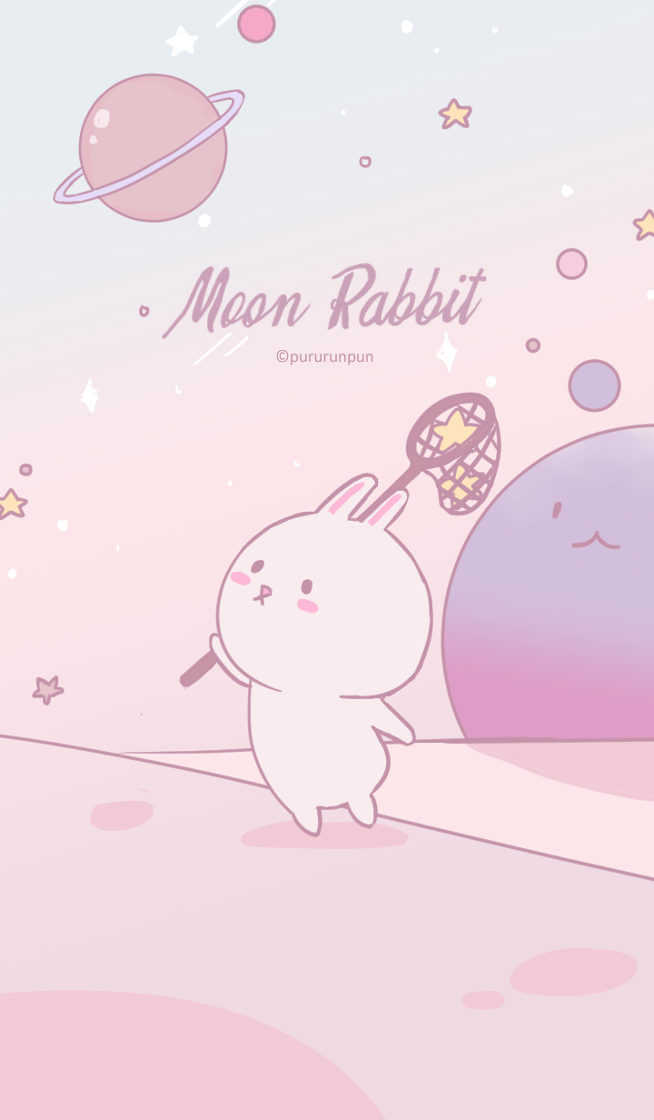 Moon Rabbit in Pastel Galaxy