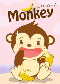 Monkey in the beach. (Purpl...