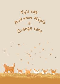 Yy's cat 秋日楓葉與橘貓