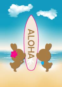 suntan rabbits and surfboard ALOHA 2.