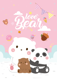 Three Bears Love Light Pink