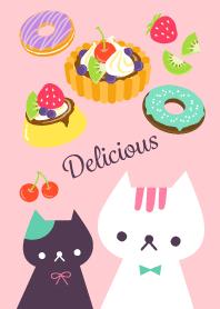 北歐設計的可愛貓咪和糖果