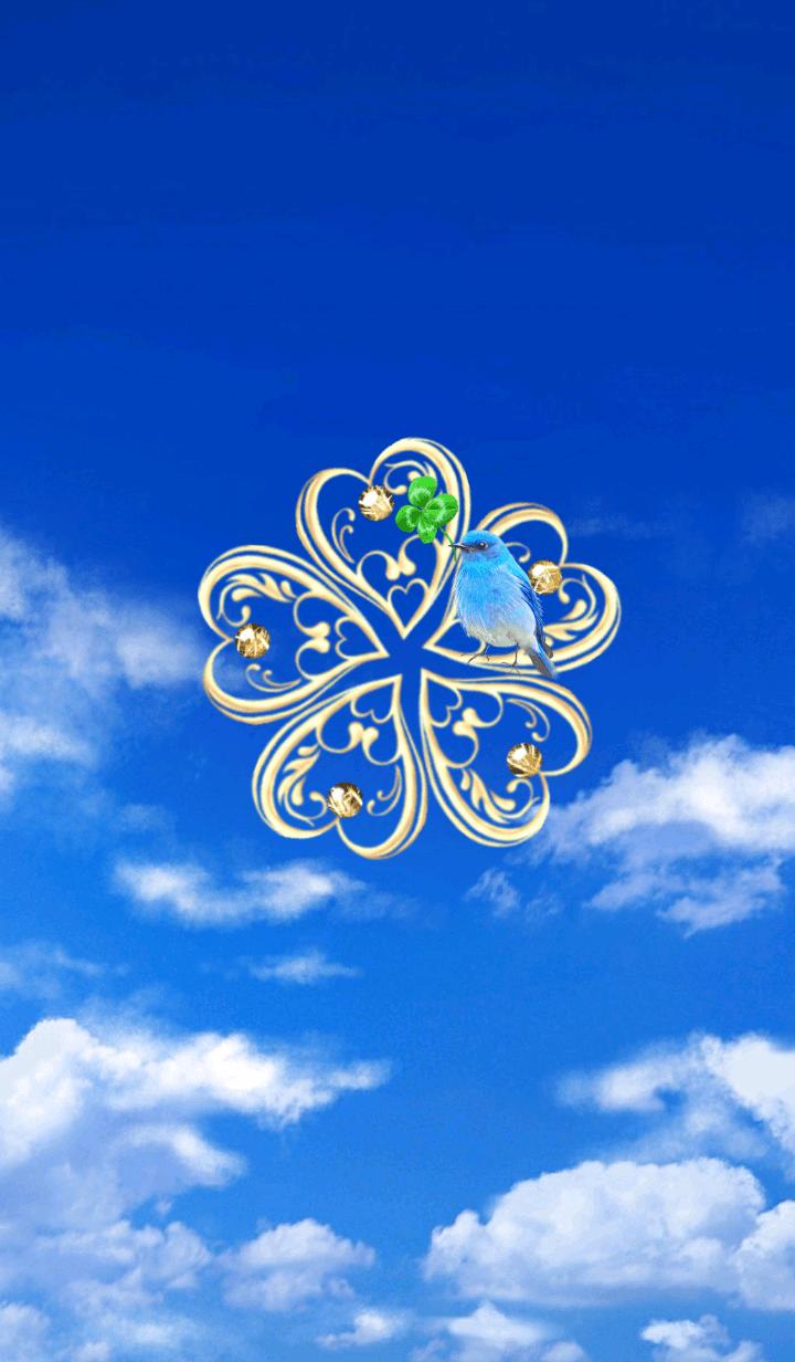 全運気UP♡幸運クローバー&青い鳥in青空