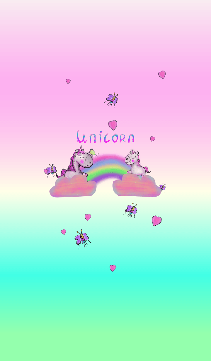 Unicorn kid and rainbow