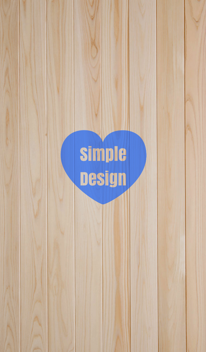 Wood Simple Design Heart Blue ver.