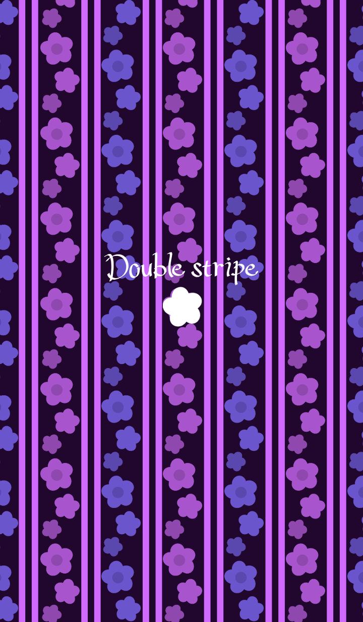 Double stripe -Purple flowers-