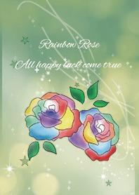 Green / Rainbow rose calling all luck