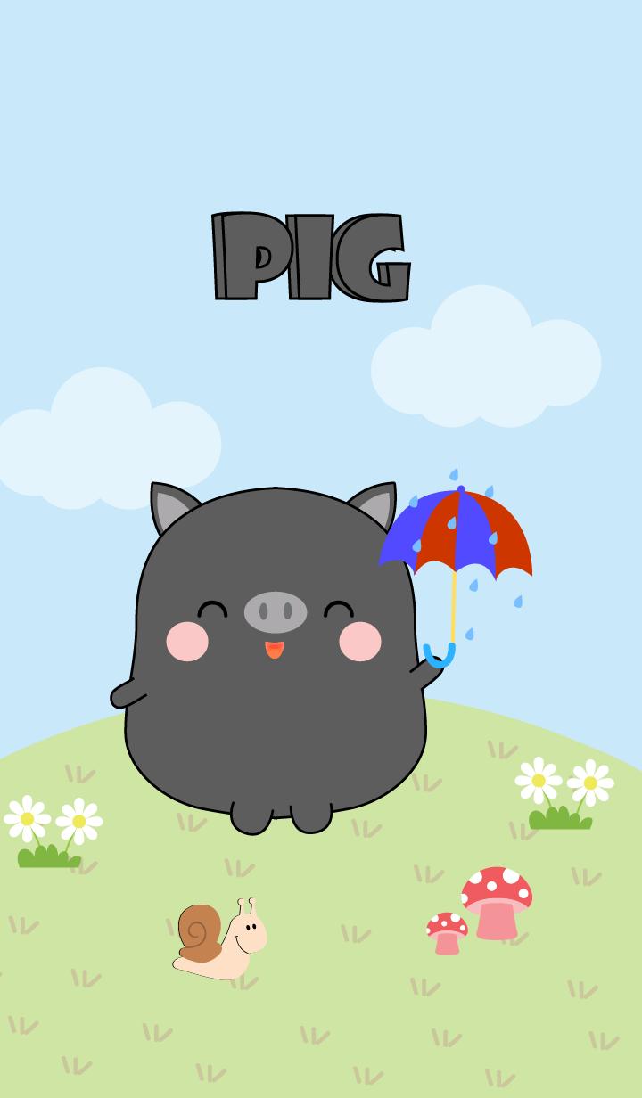 Love Cute Fat black pig Theme (jp)
