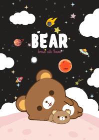 Brown Bear Kawaii Galaxy Black