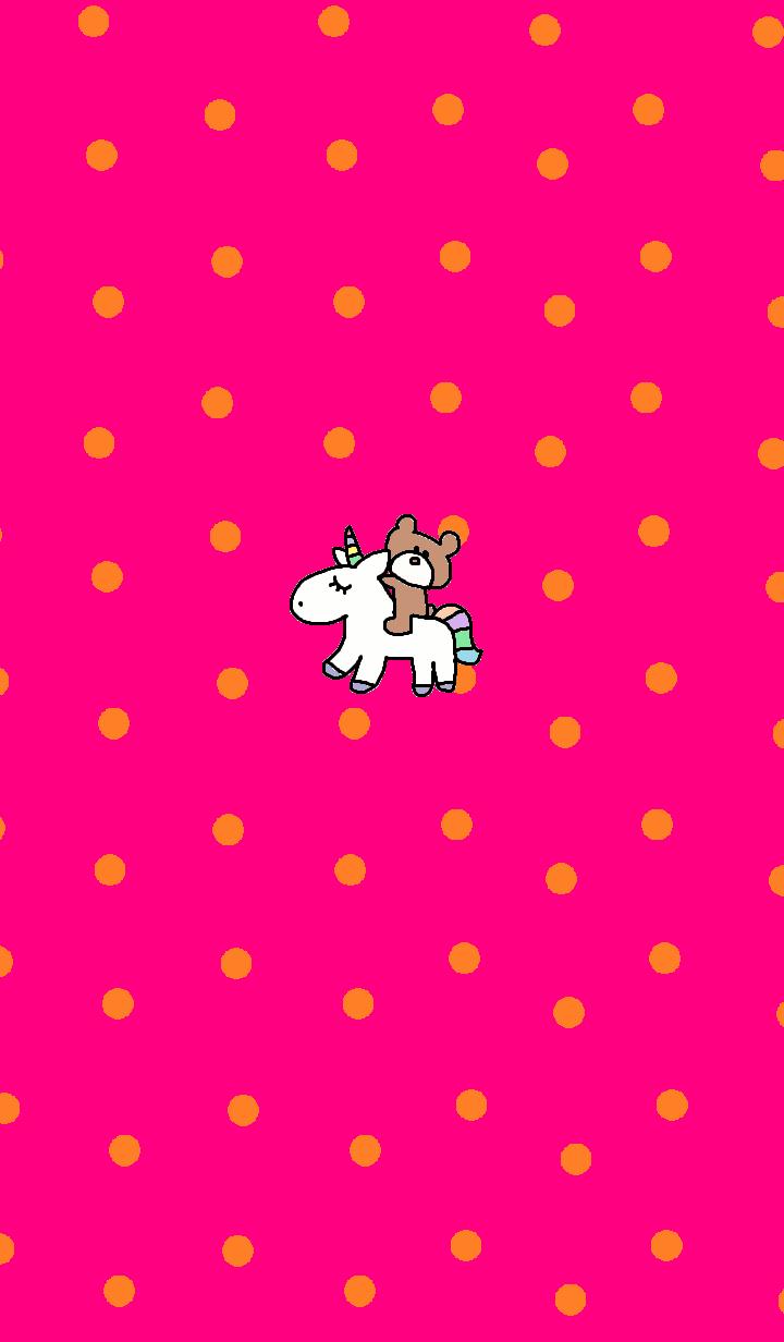 くま x ピンク の水玉