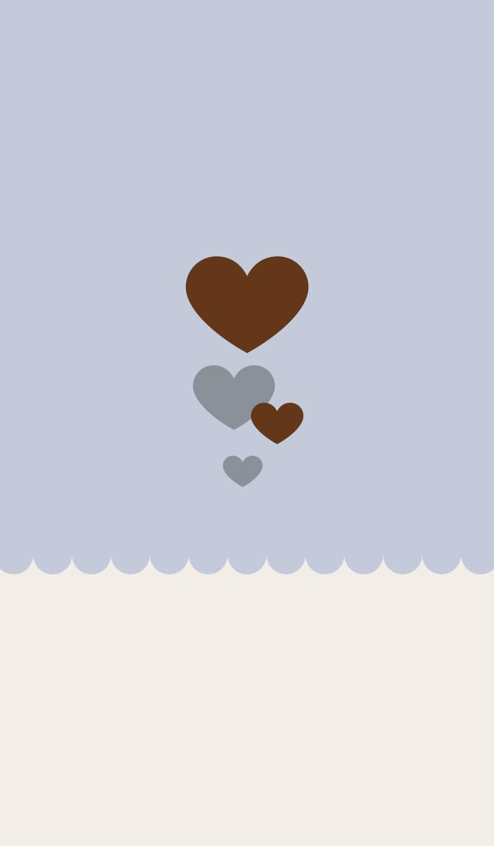 Cute adult heart blue beige