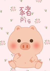 可愛寶貝豬 玫瑰花園 粉紅色